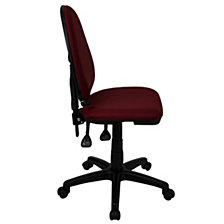 Mid-Back Burgundy Fabric Multifunction Swivel Task Chair With Adjustable Lumbar Support