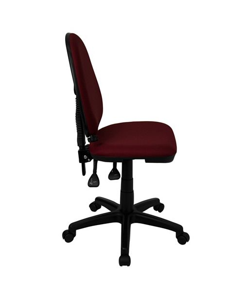 Flash Furniture Mid-Back Burgundy Fabric Multifunction Swivel Task Chair With Adjustable Lumbar Support