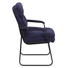 Navy Microfiber Executive Side Reception Chair With Sled Base