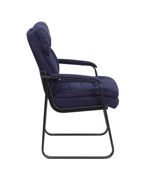 Flash Furniture Navy Microfiber Executive Side Reception Chair With Sled Base