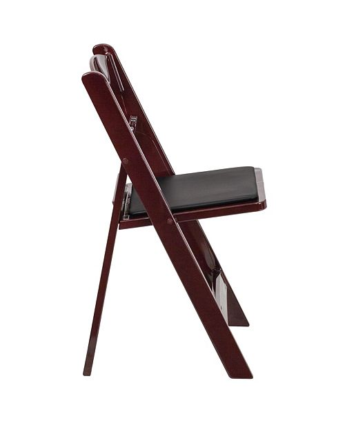 Fantastic Hercules Series 1000 Lb Capacity Red Mahogany Resin Folding Chair With Black Vinyl Padded Seat Pabps2019 Chair Design Images Pabps2019Com