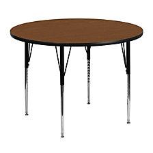 48'' Round Oak Hp Laminate Activity Table - Standard Height Adjustable Legs
