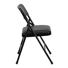 Hercules Series Curved Triple Braced & Double-Hinged Black Vinyl Fabric Metal Folding Chair