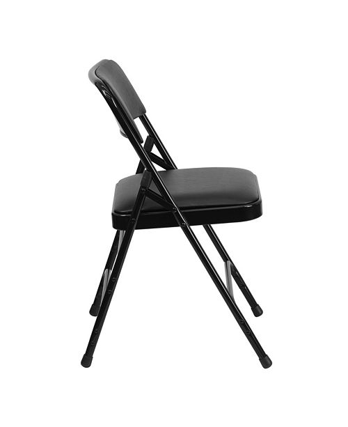 Flash Furniture Hercules Series Curved Triple Braced & Double-Hinged Black Vinyl Fabric Metal Folding Chair