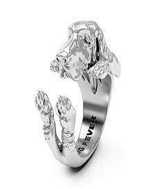 Basset Hound Hug Ring in Sterling Silver