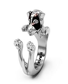 Jack Russel Terrier Hug Ring in Sterling Silver