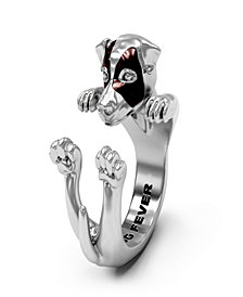 Jack Russel Terrier Hug Ring in Sterling Silver