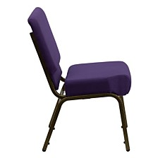 Hercules Series 21''W Stacking Church Chair In Royal Purple Fabric - Gold Vein Frame