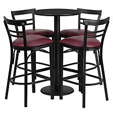24'' Round Black Laminate Table Set With 4 Ladder Back Metal Barstools - Burgundy Vinyl Seat