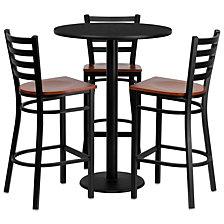 30'' Round Black Laminate Table Set With 3 Ladder Back Metal Barstools - Cherry Wood Seat