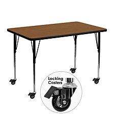 Mobile 30''W X 48''L Rectangular Oak Hp Laminate Activity Table - Standard Height Adjustable Legs