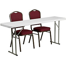 18'' X 72'' Plastic Folding Training Table Set With 2 Crown Back Stack Chairs