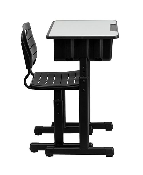 Admirable Adjustable Height Student Desk And Chair With Black Pedestal Frame Cjindustries Chair Design For Home Cjindustriesco
