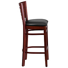 Darby Series Slat Back Mahogany Wood Restaurant Barstool - Black Vinyl Seat