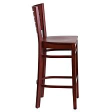 Darby Series Slat Back Mahogany Wood Restaurant Barstool