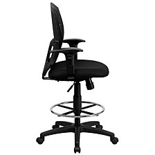 Mid-Back Designer Back Drafting Chair With Fabric Seat And Adjustable Arms