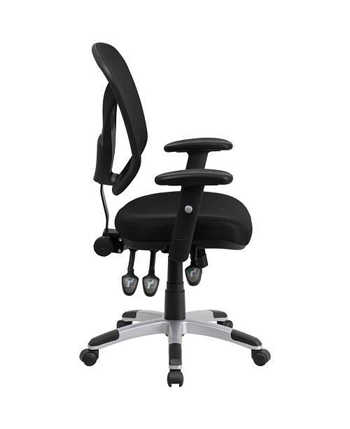 Flash Furniture Mid-Back Black Mesh Multifunction Swivel Task Chair With Adjustable Arms