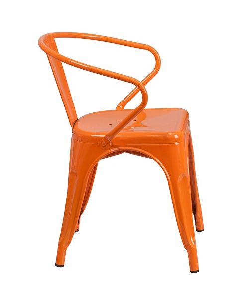 Flash Furniture Orange Metal Indoor-Outdoor Chair With Arms