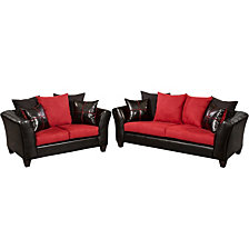Riverstone Victory Lane Cardinal Microfiber Living Room Set