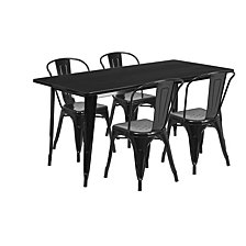 31.5'' X 63'' Rectangular Black Metal Indoor-Outdoor Table Set With 4 Stack Chairs