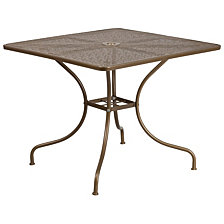 35.5'' Square Gold Indoor-Outdoor Steel Patio Table