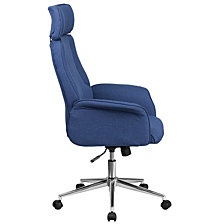 High Back Blue Fabric Executive Swivel Chair With Chrome Base And Fully Upholstered Arms