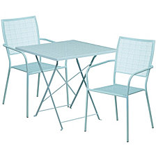 28'' Square Sky Blue Indoor-Outdoor Steel Folding Patio Table Set With 2 Square Back Chairs