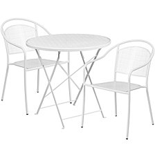 30'' Round White Indoor-Outdoor Steel Folding Patio Table Set With 2 Round Back Chairs