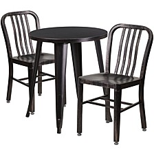 24'' Round Black-Antique Gold Metal Indoor-Outdoor Table Set With 2 Vertical Slat Back Chairs