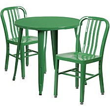 30'' Round Green Metal Indoor-Outdoor Table Set With 2 Vertical Slat Back Chairs