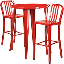 30'' Round Red Metal Indoor-Outdoor Bar Table Set With 2 Vertical Slat Back Stools