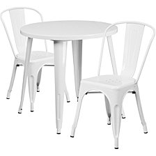 30'' Round White Metal Indoor-Outdoor Table Set With 2 Cafe Chairs