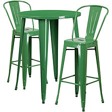 30'' Round Green Metal Indoor-Outdoor Bar Table Set With 2 Cafe Stools
