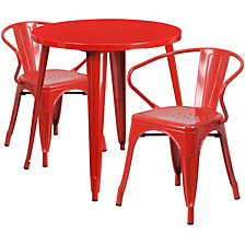 30'' Round Red Metal Indoor-Outdoor Table Set With 2 Arm Chairs