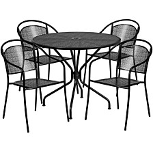 35.25'' Round Black Indoor-Outdoor Steel Patio Table Set With 4 Round Back Chairs