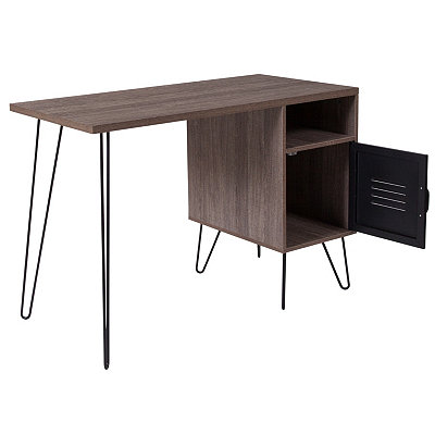Woodridge Collection Rustic Wood Grain Finish Computer Desk With Metal Cabinet Door And Black Metal Legs by Flash Furniture
