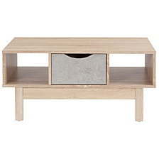 St. Regis Collection Coffee Table In Oak Wood Grain Finish With Gray Drawer
