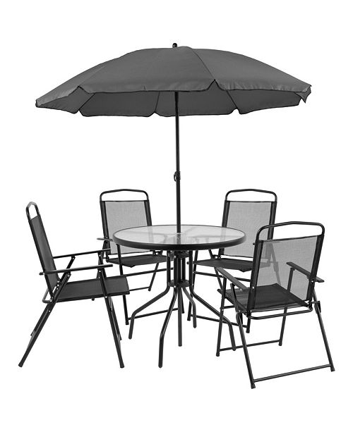 Super Nantucket 6 Piece Patio Garden Set With Table Umbrella And 4 Folding Chairs Gmtry Best Dining Table And Chair Ideas Images Gmtryco