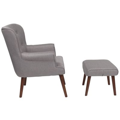 to buy united states wholesale online Bayton Upholstered Wingback Chair With Ottoman In Light Gray Fabric