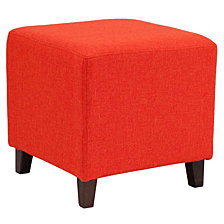 Ascalon Upholstered Ottoman Pouf In Orange Fabric