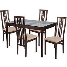 Highland 5 Piece Espresso Wood Dining Table Set With Glass Top And High Triple Window Pane Back Wood Dining Chairs - Padded Seats