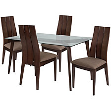 Hawthorne 5 Piece Espresso Wood Dining Table Set With Glass Top And Wide Slat Back Wood Dining Chairs - Padded Seats