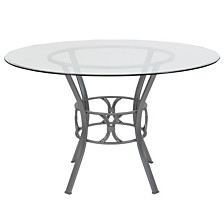 Carlisle 48'' Round Glass Dining Table With Silver Metal Frame