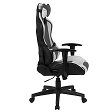 Cumberland Comfort Series High Back Gray And White Executive Reclining Racing/Gaming Swivel Chair With Adjustable Lumbar Support