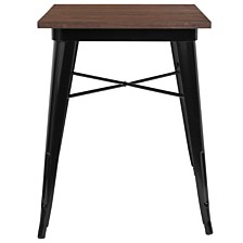 "23.5"" Square Black Metal Indoor Table With Walnut Rustic Wood Top"