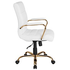 Mid-Back White Leather Executive Swivel Chair With Gold Frame And Arms