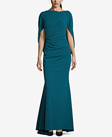 Betsy & Adam Cape-Back Evening Gown