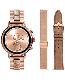 Fossil Q Women's Venture Rose Gold-Tone Stainless Steel Bracelet Touchscreen Smart Watch 40mm Gift Set