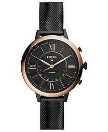 Fossil Q Women's Jacqueline Black Stainless Steel Mesh Bracelet Hybrid Smart Watch 36mm