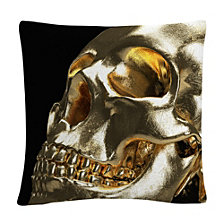 "Modern 3D Gold Skull 16x16"" Decorative Throw Pillow by ABC"